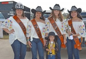 Winning Most Beautiful in the 3 year-old division is Addison Martinez. She is joined by the 2019 Cowboy Homecoming Court, from left, Queen Elena Ortiz, Princess Valentina Gasca, Princess Abby Izaguirre and Princess Gabby Martinez. JOE DAVID CORDOVA | PLEASANTON EXPRESS