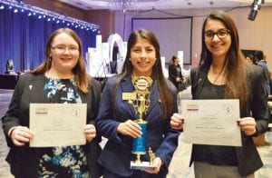 Alaina Dickson, Delanee Olivarri, and Madeleine Guajardo receive the Statesman Torch Award recognizing community service. Delanee Olivarri receives the Statesman of the Year Award for Area 2. Delanee also closes out her last responsibility as Area 2 Region 2 President at the State Leadership Conference.
