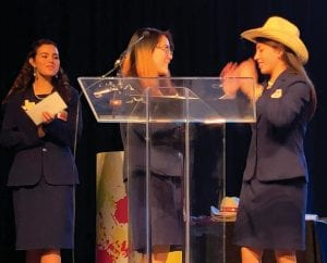 Delanee Olivarri gets inducted as the new Parliamentarian for the Texas Association of Business Professional State Officer Team.