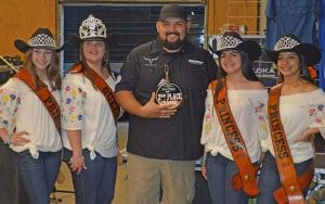 Fred Robles (center) of Rio Valley Meat won Overall Reserve Grand Champion in the Turn N Burn competition. He also won 2nd Place in the Chicken Division, 5th in Brisket and 10th in Ribs.Pictured, from left, are Cowboy Homecoming Princess Abby Izaguirre, Queen Elena Ortiz, Robles, Princess Gabby Martinez and Princess Valentina Gasca. JOE DAVID CORDOVA | PLEASANTON EXPRESS