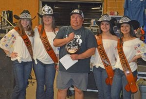 Ram Benitez (center) of Two Bros BBQ won 3rd Place in the Brisket Division. Joining him, from left, are Cowboy Homecoming Princess Abby Izaguirre, Queen Elena Ortiz, Princess Gabby Martinez and Princess Valentina Gasca. JOE DAVID CORDOVA | PLEASANTON EXPRESS