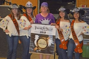 Winning 1st Place in the Chicken Division was Jan Canterbury of We B Smokin' Too. Pictured, from left, are Cowboy Homecoming Princess Abby Izaguirre, Queen Elena Ortiz, Canterbury, Princess Gabby Martinez and Princess Valentina Gasca. JOE DAVID CORDOVA | PLEASANTON EXPRESS