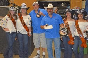David Hernandez's Whatcha Smokin' BBQ Team won 3rd Place Overall. Pictured, from left, are Cowboy Homecoming Princess Abby Izaguirre, Queen Elena Ortiz, Whatcha Smokin' BBQ team, Princess Gabby Martinez and Princess Valentina Gasca. JOE DAVID CORDOVA | PLEASANTON EXPRESS