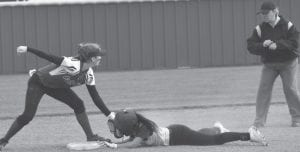 Charlotte's Julissa Cantu slides safely into second base for a steal against Falls City on March 11. MARGARET GALLEGOS | PLEASANTON EXPRESS