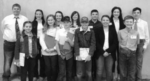San Antonio Stock Show Consumers Team Competed in 2019 San Antonio Stock Show Consumers Decision Making Contest. Back row from left to right: Trey Hagen; Chloe Nieschwitz; Allison Mussey; Tanner McDougal; Holden Hagen; Caitlyn Nieschwitz; Stayton Hagen. Front row from left to right: Sadie Hartmann; Isabella Trapp; Layton Shearrer; Cross Ringelstein; Kendall Hagen; Casper Ringelstien. This contest is based on skills of consumer observation, comparison, and the abilibty to make fact-based purchases. Contestants had to judge six classes selected from consumers products. Examples of products are blue jeans, snack foods, sunscreens, shampoo, and checking account. Contestants were allowed eight minutes for judging each class. Coaches Johanna Hagen and Sue Ann Smiths teams did well at the San Antonio Stock Show and Rodeo Competition. One of the junior teams with members Tanner McDougal, Isabella Trapp, Layton Shearrer, and Cross Ringlestein took home 1st place Junior Team. Tanner McDougal won 1st place Junior Individual, and Isabella Trapp won 3rd place Junior Individual. Senior team with members Trey Hagen, Kendall Hagen, Caitlin Neischwitz, and Stayton Hagen won 8th place Senior Team. Trey Hagen won 10th place Senior Individual. Great job to all of these 4-H Members that participated. CONTRIBUTED