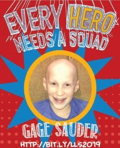 """Gage Sauder featured on the Leukemia & Lymphoma Society's """"Pennies for Patients"""" poster. To give to the society go to www.lls.org."""