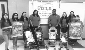 """JHS FCCLA Advisor and aunt of Gage, Christi Kinsel, organized a """"Pennies for Patients"""" fundraiser sponsored by the Leukemia & Lymphoma Society. Featured are, left to right: Alexis Welch, Marlene Reyna, America DucVan Lazaro, Caitlin Mendoza, Karl Palmer, Ivy Jones, Domonique Orozco and Rita Lugo. Not pictured: Tanaya Riggs, Karoline Barton and Lauren Garcia. SUE BROWN 