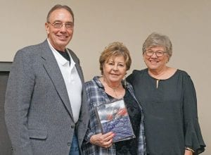 Larry and Ginny Mross were presented with the Couple of the Year award by Betty Rackley with the Pleasanton Woman's Club at the Pleasanton Chamber of Commerce Awards Banquet. NOEL WILKERSON HOLMES   PLEASANTON EXPRESS
