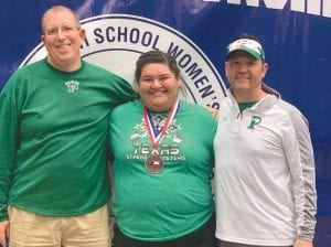 Pleasanton's Illeana Bosquez (center) with coaches Chuck Black (left) and Stephen Liska (right) after earning third in the powerlifting state meet. CONTRIBUTED PHOTO