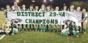 Pleasanton's women' soccer team celebrates its perfect 6-0 run through district after shutting out Gonzales 3-0 at home on March 19. TOM FIRME | PLEASANTON EXPRESS