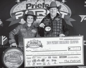Kadi Fretwell, sophomore at Pleasanton High School and a member of the THSRA Region 8, won the 19 and under Girls Breakaway Competition at the Patriot Calf Roping in Fort Worth. She was competing against 125 girls and her time on 4 calves was a 9.50. CONTRIBUTED