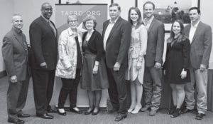 Pictured left to right are Assistant Superintendent for Business at Harlandale ISD, Richard Hernandez; Ft. Sam Houston Superintendent, Dr. Gary Bates; Principal for Robert G. Cole Middle School and High School, Dr. Isabell Clayton; Julie Novak, Charles Novak, Sarah Franklin, Matt Franklin, Jeralyn Novak and Ryan Novak. CONTRIBUTED