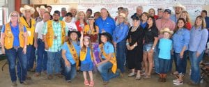 The 2019 Strawberry Festival Grand Champion Strawberries were grown by Lisa Sanchez with 4G Reyes Farms. Pictured standing: Molly Solis- Poteet Lions, Carlos Ambriz- Poteet Lions, (hidden) Donald Retzloff, Jim Collums, Dr. Jeff Jacobs- Southern Smiles, Wes Howell, David Reyes- Poteet Lions, Dan Jupe, Margie and Rene Martinez- R&M RV Park, Aubrey Smith- H-E-B, Mark Biediger, Grand Champion Grower Lisa Sanchez- 4G Reyes Farms, (woman with glasses), Jerry Brown- Bud Light, Alice Denson (hidden), John Shipley- Poteet VFW, Marian and Stewart Knowlton- United Country Realty, Elaine Brown DiCaro, County Judge Bob Hurley, Nellie Delgado- AEP, Jackie Brown-Security State Bank, Jason Barnes, MD- holding son, Pat Hurley- Hurley Funeral Home, Gregston Hurley, Evan Walker- Tuttle Motors, Amanda Velasquez- Pleasanton Express, Erinn Walker- Tuttle Motors, Debbie Martinez- Capital Farm Credit. In front: Miss Lions Rachelle Casias, Little Miss Lions Miranda Solis, Miss 1st Runner Up Tahis Ramirez. JOE DAVID CORDOVA | PLEASANTON EXPRESS