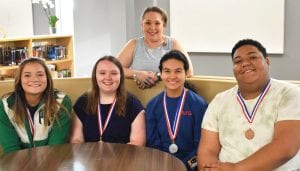 UIL Academic Regional qualifiers at Pleasanton High School are, left to right: Erica Santee, Alaina Dickson, Zorayda Martinez and Xavier Norris. In the back is sponsor Mrs. Nechole Williams. BETH MOOS | COURTESY PHOTO