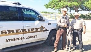 ACSO Deputy Daniel Hernandez and ACAC Chief Henry Dominguez retrieve Scooby from a rural home near Poteet. ATASCOSA COUNTY ANIMAL CONTROL COURTESY PHOTO
