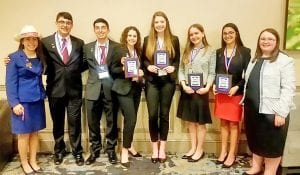 Delanee Olivarri, Dylan Acuff, Justin Rangel, Mackenzie Pilgrim, Shelby Henson, Ann Levchyk, Madeleine Guajardo and Alaina Dickson each qualified for the National competition in Anaheim, CA to be held May 1-5. PHOTO COURTESY OF JANIE OLIVARRI