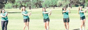 From left, Pleasanton girls golfers Meagan Mitchell, Laken McAda, Lacey Stevens, Gabi Diaz and Lauren Trapp TOM FIRME | PLEASANTON EXPRESS