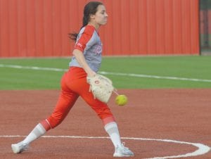 Jourdanton's Lexi Wheeler delivers a pitch. She struck out eight batters in seven innings during the Squaws' shutout of Cotulla on April 15. JOE DAVID CORDOVA | PLEASANTON EXPRESS
