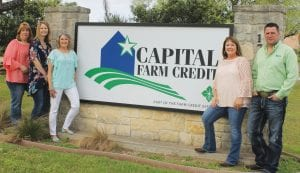 Pictured, from left, are the friendly faces you see when you walk into Capital Farm Credit: Lisa Schmidt, Sr. Customer Relationship Specialist; Melissa Mangum, Sr. Credit Officer; Becky Murphy, Sr. Customer Relationship Specialist; Debbie Martinez, Loan Officer; and Wes Howell, Sr. Loan Officer. LEON ZABAVA | PLEASANTON EXPRESS