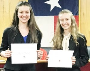 Jourdanton High School students, Deniece Mueller and Kelly House, received recognition for their achievements in State UIL Academics competitions. Theresa McAllister presented certificates during last night's School Board meeting. DIANA GUTHRIE   PLEASANTON EXPRESS