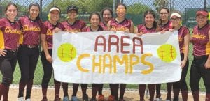 Charlotte's softball team commemorates its area playoff championship after pouring 27 runs on Freer in two games. CONTRIBUTED PHOTO BY CRISTELA DURAN