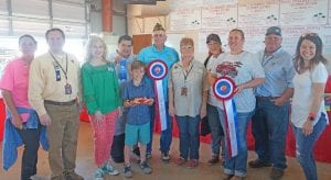 Winning Reserve Grand Champion in the Pre-Teen Division was Gunnar Smith with his Strawberry Cheesecake Bars. They sold for $1,525 to buyers, from left, Alice Denson-Data Network Cabling, Ron Mixon-Poteet Rotary Club, Aubrey Smith-H-E-B, Richard Castillon-Cricket Wireless, Gunnar Smith-winner, John Shipley-Poteet VFW, Brenda Young-Brenda Young CPA, Dickie Lee Sparks-Classic Touch Salon, Megan Sparks-Methodist Hospital South, Larry Wagner-Matco Tools and Jenna Smith-Gunnar's mom. NOEL WILKERSON HOLMES | PLEASANTON EXPRESS