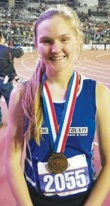 McMullen County's Caeli Taylor placed second in both the mile and two-mile events at the 1A state track and field meet on May 10. COURTESY PHOTO