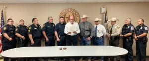 Newly elected Poteet Mayor Willie Leal, Jr., at a proclamation ceremony, honored local law enforcement for National Police Week. Pictured are: Poteet PD: Officer Chris Carter, Officer Bruno Garcia, Sgt. Wilson Butler, Lt. Noe Rodriguez, Chief Bruce Hickman, Mayor Leal, Atascosa Sheriff's Office: Captain Matt Miller, Sergeant Investigator Albert Garza, Deputy Luis Diaz, Poteet ISD PD: Chief Willie Mendez, Officer Jason Velasquez. ERIC JIMINEZ | COURTESY PHOTO