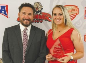 Torey Dumont (right) pictured with UHV Athletics Director Ashley Walyuchow (left) after being named the 2019 UHV Female Athlete of the Year. PHOTO COURTESY OF UNIVERSITY OF HOUSTON-VICTORIA ATHLETICS