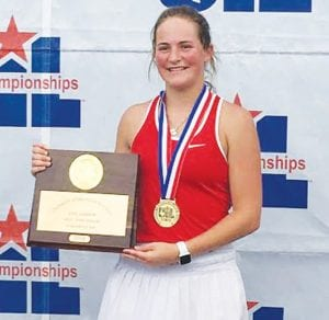 State 3A Tennis Champion Lea Karren of Jourdanton High School, holds her first place award at the state tennis meet on May 18. HAILEYBUG PHOTOGRAPHY | COURTESY PHOTO