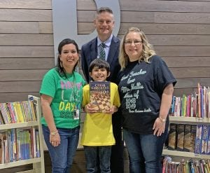RJ Lopez (center) is joined, by Pleasanton Elementary Principal Erica Bernal, Superintendent Matthew Mann and his 5th grade teacher Ginger Hollis. REBECCA PESQUEDA | PLEASANTON EXPRESS