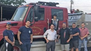Jourdanton VFD let RJ hold a can drive at their annual BBQ Cook Off May 18. Pictured, from left, are Fire Fighters Josh Faseler, Michael Guerra, Edward Miranda, RJ Lopez, Captain Jeff Rankin, Assistant Chief Roland Jimenez and Chief Jay Fojtik. COURTESY PHOTO