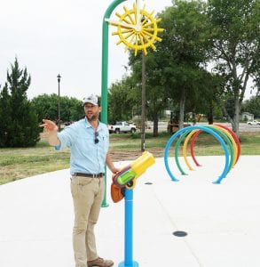 Greg Leach, Parks and Rec. Director, gives an overview of progress on the Pleasanton River Park. NOEL WILKERSON HOLMES | PLEASANTON EXPRESS