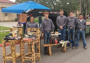 Tilden FFA members competed at the TAMU Kingsville Ag Mechanics show on April 29. The 38-foot gooseneck trailer won Grand Champion. Pictured left to right are Ashley Miller, Tristan Alexander, Garrett Blaha, Cayden Turner and Rodrigo Garcia. CONTRICBUTED