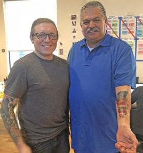 Retired NYPD officer, Rich Verdino, owner of Green Apple Tattoo in New York City, designed and inked Chief Ronald Sanchez's tattoo in memory of Terry Miller, Thomas Monse, Jr. and Mark Stephenson. COURTESY PHOTO