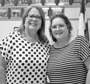 Irma Rodriguez is pictured with Debbie Drew, previous Pleasanton ISD Assistant Superintendent. Rodriguez worked for Drew for many years.
