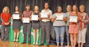 Pictured are the Larry Brown Memorial Scholarship recipients with Larry Brown family, from left, Leslie Brown, Ruby Galarza, Samuel Garcia-Rodriguez, Sarah Neill, Elijah Savala, Anahli Martinez, Stephanie Brown, Jenna Westfall, and Kay Brown. Not pictured are Hunter Barnett, and Marshall Morris. COURTESY PHOTO