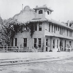 """North Pleasanton Depot for the San Antonio, Uvalde and Gulf Railroad"" c.1912"