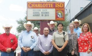 Meeting at Charlotte I.S.D, Monday, August 12, for the School Safe program were, front row, from left, Constable Cregg Thompson, Pct. 3; Sheriff David Soward, Charlotte Superintendent Mario Sotelo, Anna Luera, School Resource Officer; Brianne Brock, Secondary School Principal; and Laura Mikolajczyk, Elementary Principal. In back row are Chief Deputy Constable Clint Luckett, Pct. 3; ACSO Major Matthew Miller and ACSO Chief Jake Guerra. LEON ZABAVA | PLEASANTON EXPRESS