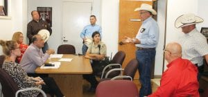Atascosa County Sheriff's Office (ACSO) meeting, Monday, August 12, at Charlotte I.S.D., discussing safety and patrolling plans for the upcoming school year. LEON ZABAVA | PLEASANTON EXPRESS