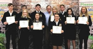 Pleasanton Ag Boosters Scholarship recipients are, back row (L to R): Shane Burchfield, Cash Fretwell, Hunter Norment, Dennis Jasik, Fisher Underbrink; middle row (L to R): Claire Roane, Cassidy Raney, Autumn Hagen, Lexie Elsik, Laken McAda and front row (L to R): Kendall Hagen. COURTESY PHOTO| PLEASANTON EXPRESS