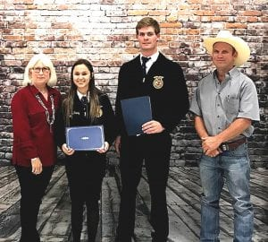 Tommy Shearrer Memorial Scholarship recipients are Cassidy Raney and Fisher Underbrink pictured with Sharon Shearrer and Matthew Shearrer. COURTESY PHOTO | PLEASANTON EXPRESS