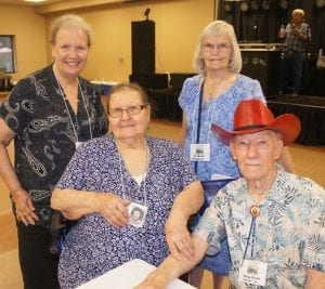 The oldest in attendance was 93-year-old King Keith, seated at right. He is pictured with his wife Jo Bronder Keith, seated at left. Behind them is their daughter, Jill and Elaine Conklin. LISA LUNA   PLEASANTON EXPRESS