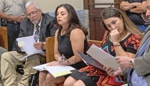 Atascosa County Juvenile Detention Center Fiscal Officer, Dora Ogden (center) addresses Commissioners' Court Monday morning about the 2020 proposed budget. REBECCA PESQUEDA | PLEASANTON EXPRESS