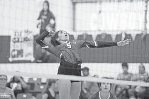 McMullen's Caina Sneed goes up for a kill against Charlotte on Sept. 17, 2019. SAM FOWLER | PLEASANTON EXPRESS