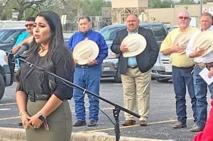 Victoria Rodriguez of Charlotte sang the National Anthem at the ceremony. NOEL WILKERSON HOLMES | PLEASANTON EXPRESS