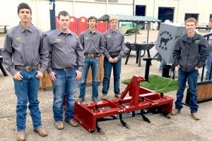 Road Grader - Reserve Division Champions of Ag Machinery and Equipment Division and 1st Place in Tractor Equipment Class. Pictured areTyler Jones, Dalton Williams, Troy Allen, Graham Blaha and Tristan Alexander. COURTESY PHOTO