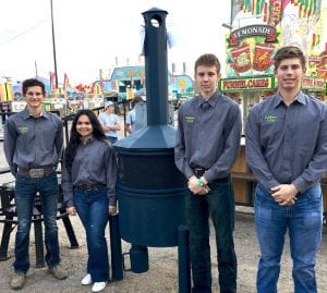 Chimney Fire Pit - Reserve Division Champions of Outdoor Convenience Division and 1st Place in Outdoor Cooking Class, Cayden Turner, Vicky Tijerina, Blake Jenkins and Garrett Blaha. COURTESY PHOTO