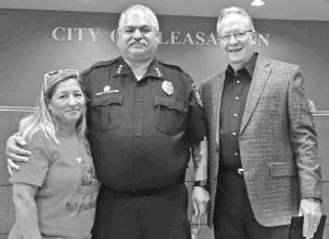 """Pleasanton Mayor Travis Hall honors Police Chief Ronald Sanchez and his wife, Feliciana for their untiring efforts to make the city a better place and a safer place to live. A former resident sent a letter to the city stating the Chief's Sept. 25 column in the Pleasanton Express regarding drug use and its dreadful consequences, had the ability to """"change lives"""" and was """"from the heart."""" CHRISTELLE TROELL 