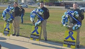 The above wreaths were on display throughout the memorial displaying the names and badge numbers of DPS Trooper Terry Miller, ACSO Deputy Thomas Monse and ACSO Deputy Mark Stephenson who lost their lives on October 12, 1999 in the Atascosa Ambush. JOE DAVID CORDOVA | PLEASANTON EXPRESS